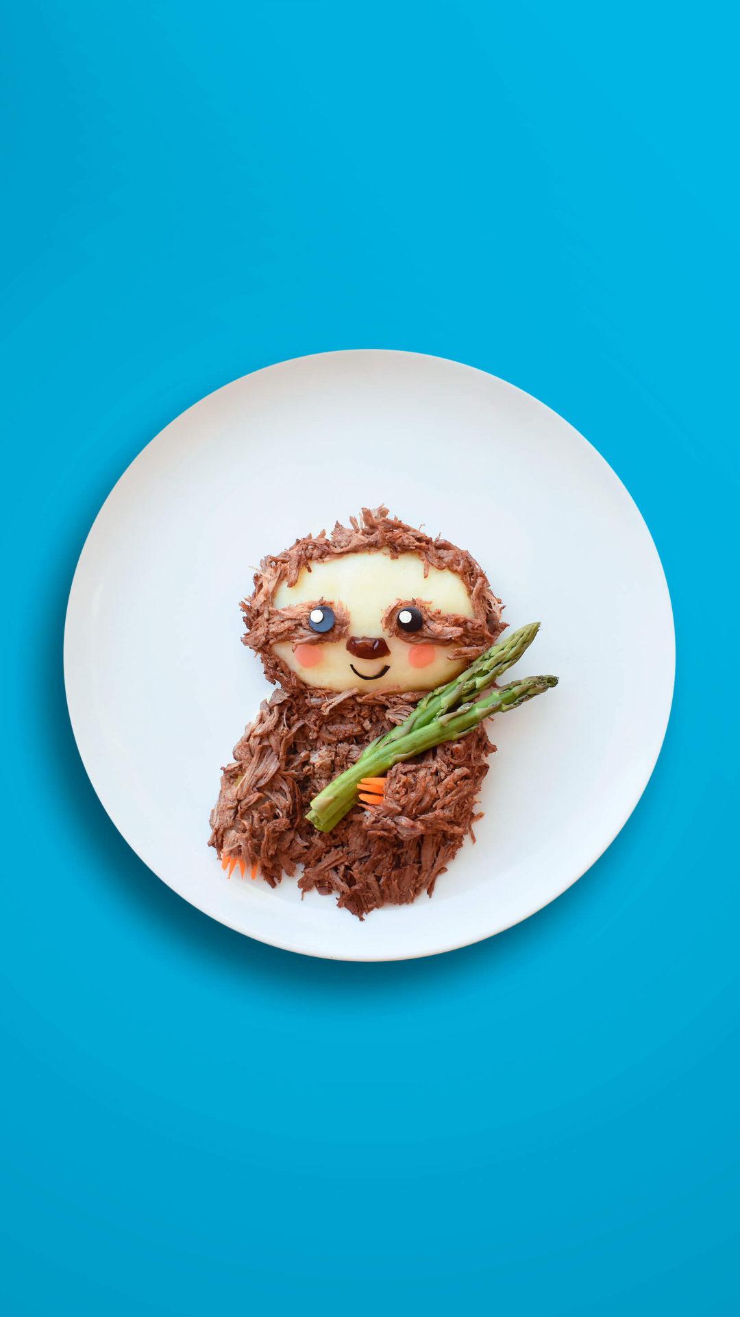 Faultier – Geschmortes Rindfleisch mit Kartoffelpüree, Spargel und Karotten