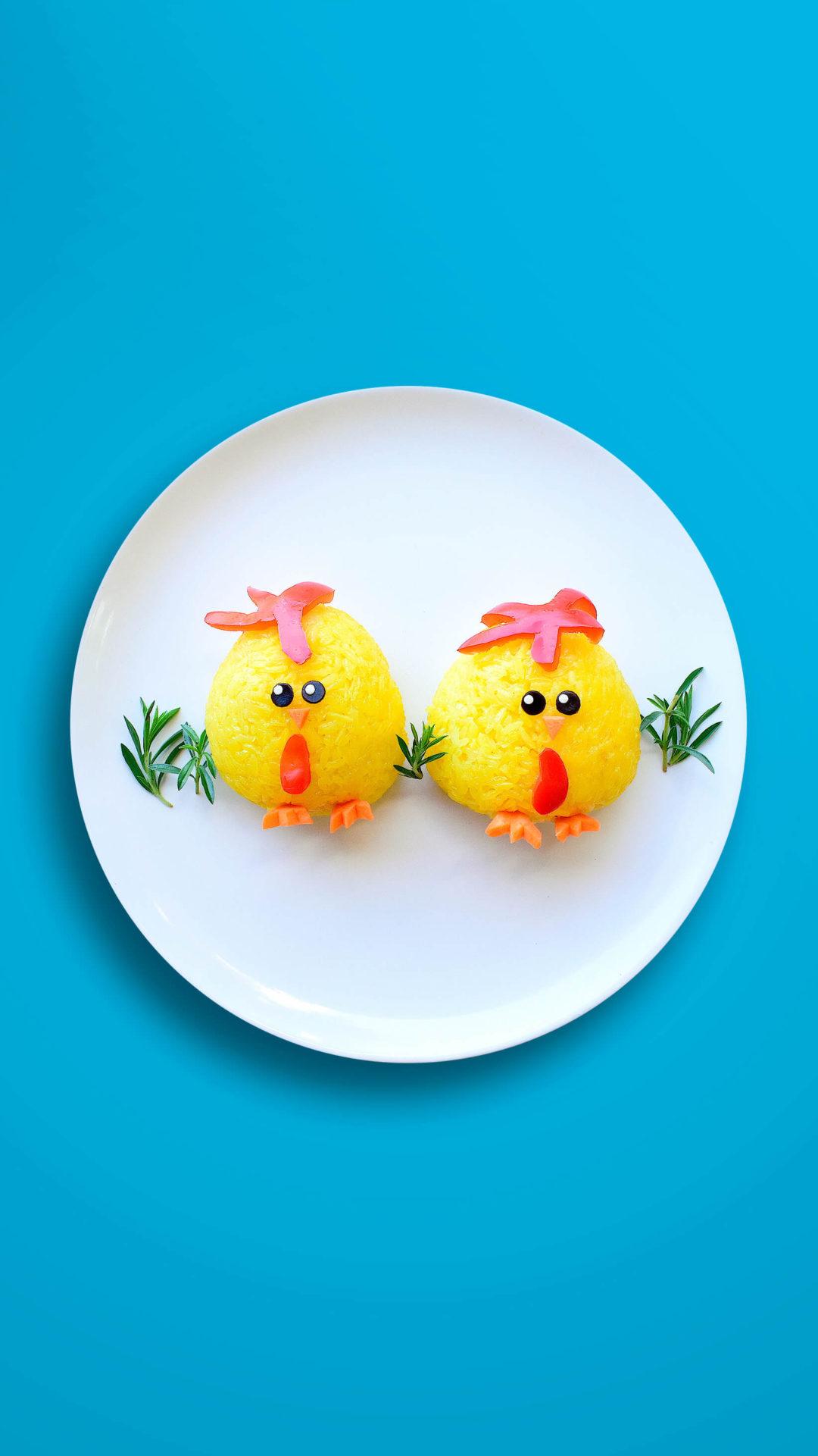 Küken (3D) – Gefüllte Safranreisbällchen mit Hähnchen und Gemüse