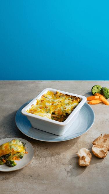 Lasagne mit Wokgemüse und Frischkäse